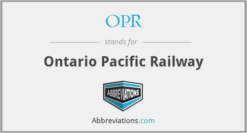 OPR - Ontario Pacific Railway