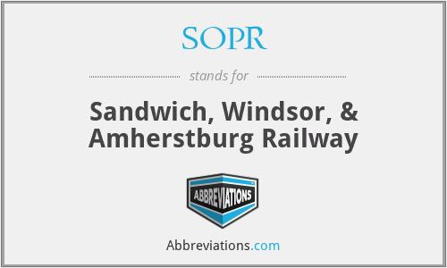 SOPR - Sandwich, Windsor, & Amherstburg Railway