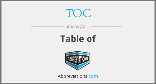 TOC - Table of