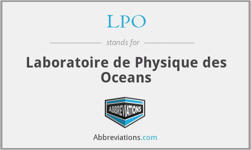 LPO - Laboratoire de Physique des Oceans