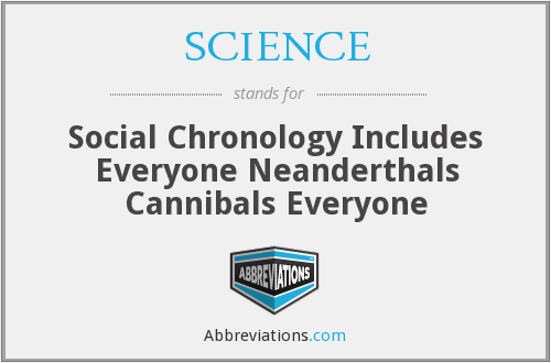 SCIENCE - Social Chronology Includes Everyone Neanderthals Cannibals Everyone
