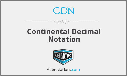 CDN - Continental Decimal Notation
