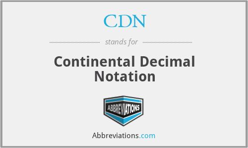 CDN - Continental Decimal Notation