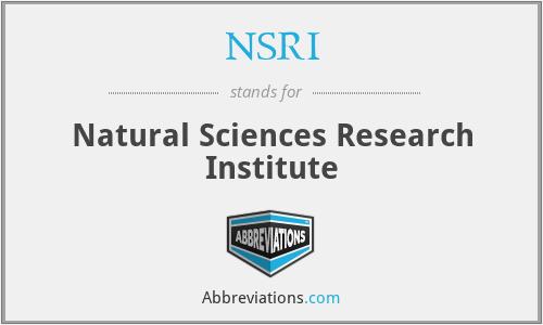 NSRI - Natural Sciences Research Institute