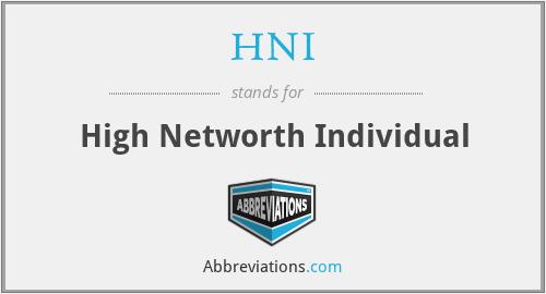 HNI - High Networth Individual