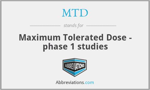 MTD - Maximum Tolerated Dose - phase 1 studies