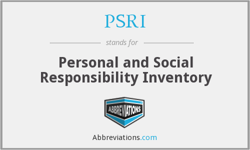 PSRI - Personal and Social Responsibility Inventory