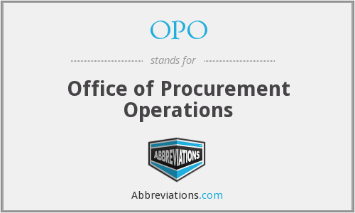OPO - Office of Procurement Operations