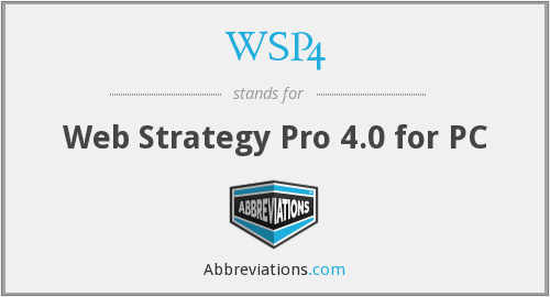 What does WSP4 stand for?