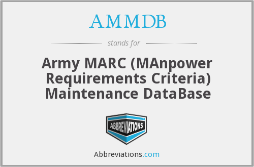 AMMDB - Army MARC Maintenance Database