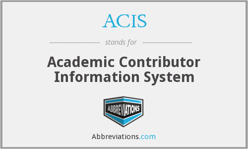 ACIS - Academic Contributor Information System