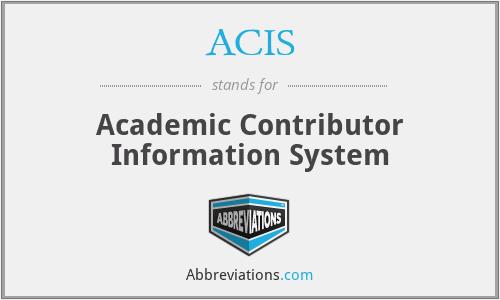 ACIS - Academic Contributor Information System