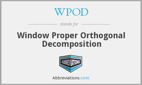 WPOD - Window Proper Orthogonal Decomposition
