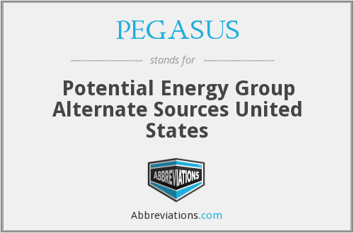 PEGASUS - Potential Energy Group Alternate Sources United States