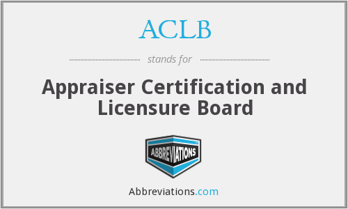 ACLB - Appraiser Certification and Licensure Board
