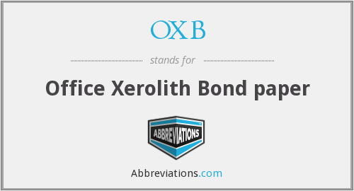OXB - Office Xerolith Bond paper