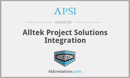 APSI - Alltek Project Solutions Integration