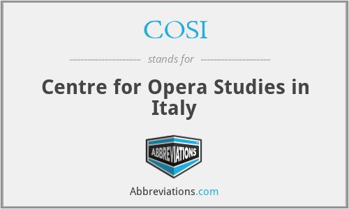 COSI - Centre for Opera Studies in Italy