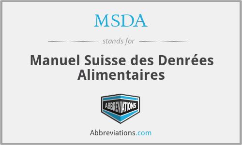 MSDA - Manuel Suisse des Denrées Alimentaires