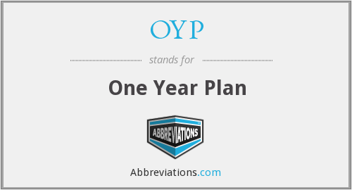 OYP - One Year Plan
