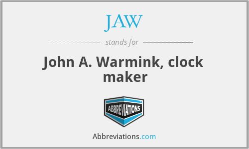 JAW - John A. Warmink, clock maker