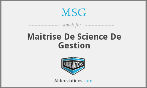 MSG - Maitrise De Science De Gestion