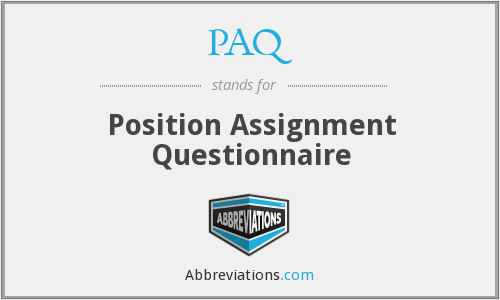 PAQ - Position Assignment Questionnaire