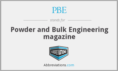 PBE - Powder and Bulk Engineering magazine