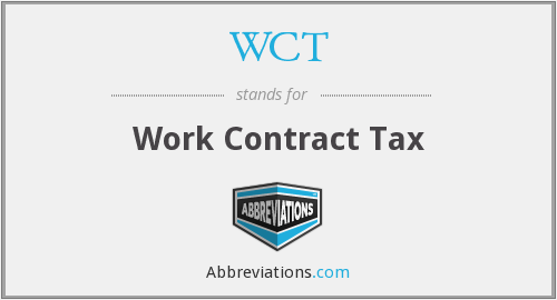 WCT - Work Contract Tax