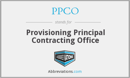 PPCO - Provisioning Principal Contracting Office