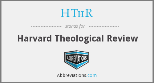 HThR - Harvard Theological Review
