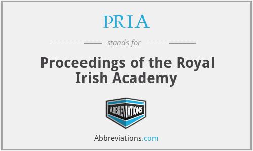 PRIA - Proceedings of the Royal Irish Academy