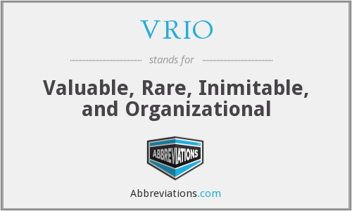 VRIO - Valuable Rare Inimitable And Organizational