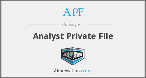 APF - Analyst Private File