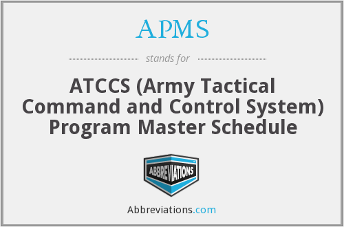 APMS - ATCCS Program Master Schedule