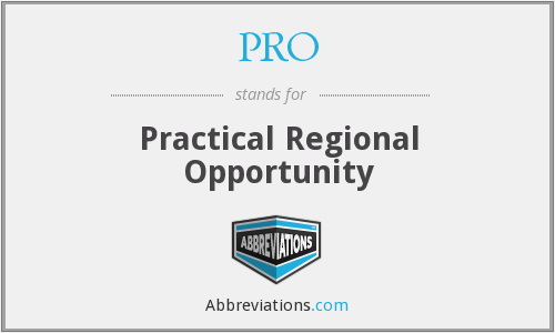 PRO - Practical Regional Opportunities