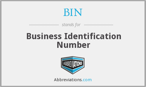BIN - Business Identification Number