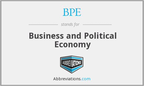 BPE - Business and Political Economy