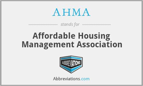 AHMA - Affordable Housing Management Association