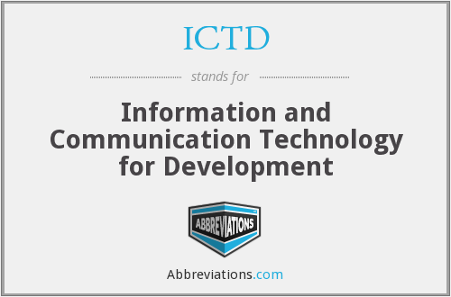 ICTD - Information and Communication Technology for Development