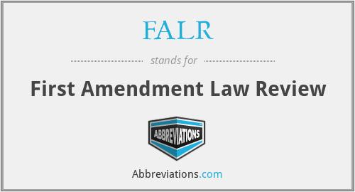 FALR - First Amendment Law Review