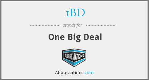 1BD - One Big Deal
