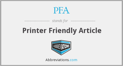 PFA - Printer Friendly Article