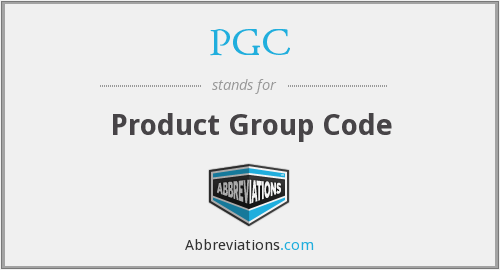 PGC - Product Group Code