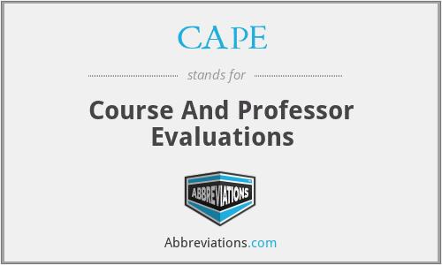 CAPE - Course And Professor Evaluations