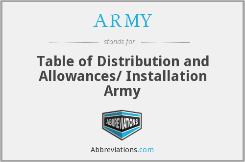 ARMY - Table of Distribution and Allowances/ Installation Army