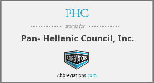 PHC - Pan- Hellenic Council, Inc.