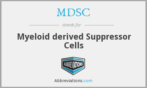 MDSC - Myeloid derived Suppressor Cells
