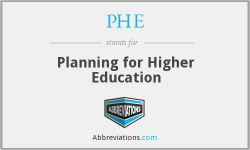 PHE - Planning for Higher Education