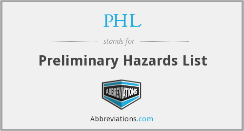 PHL - Preliminary Hazards List